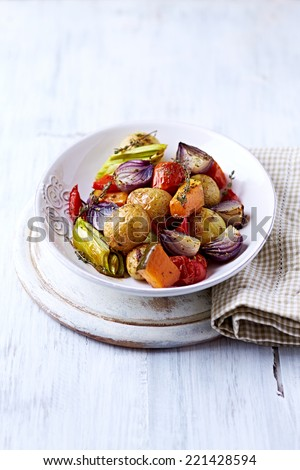 Oven-Roasted Autumn Vegetables - stock photo