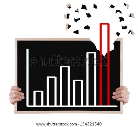 over achievement  growth graph on blackboard with hands on blackboard with hands - stock photo