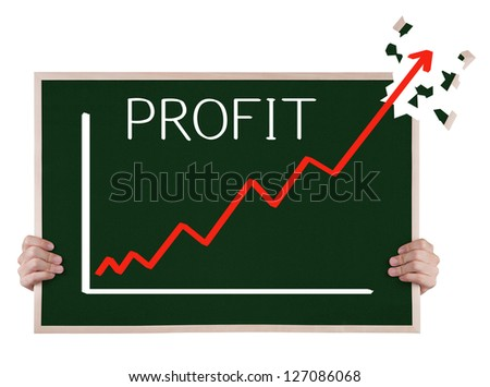 over achievement profit graph on blackboard with hands