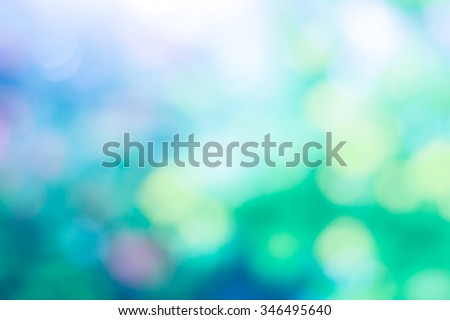 Over blur forest and sky and flower with De focused Bokeh background art for paper texture, backdrop design. green summer, green ecology concept. color pattern blue, red, white, green concept - stock photo