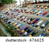 over crowded yoga class, neyyar dam, india - stock photo