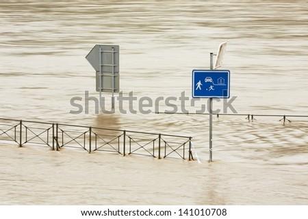 Over flood road, Prague, Czech Republic - stock photo