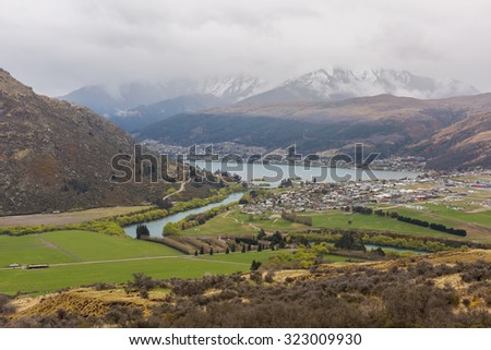 over look of lake and mountain in Frankton, New Zealand - stock photo