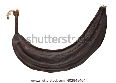 Over ripe black banana isolated on white with clipping path