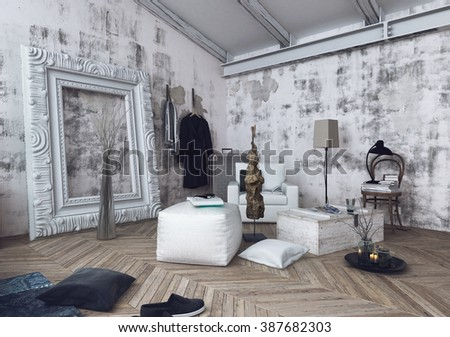 Over sized picture frame leaning against unfinished white walls next to cushions and sofa chair over wooden herringbone pattern floor. 3d Rendering.