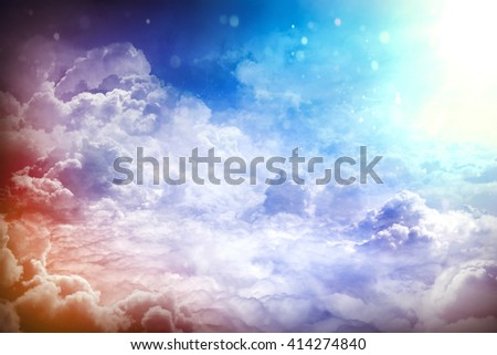 Over the Clouds. Fantastic background with clouds and sunlight beams
