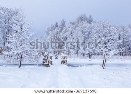 Over the river is a snow covered bridge and trail, and surrounded by snow covered trees