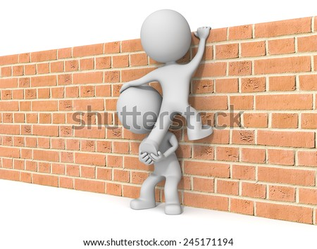 Over the wall. The dude 3D character x2 climbing Brick wall. - stock photo