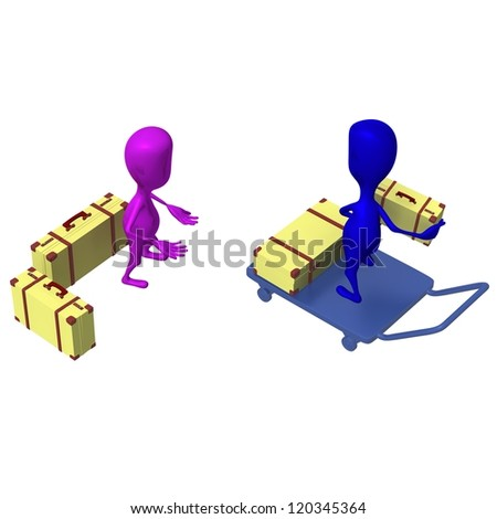 Over view blue puppet loading cases on trolley - stock photo