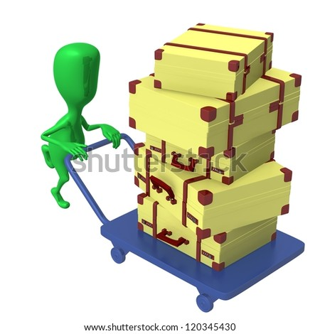 Over view green puppet push trolley with cases - stock photo