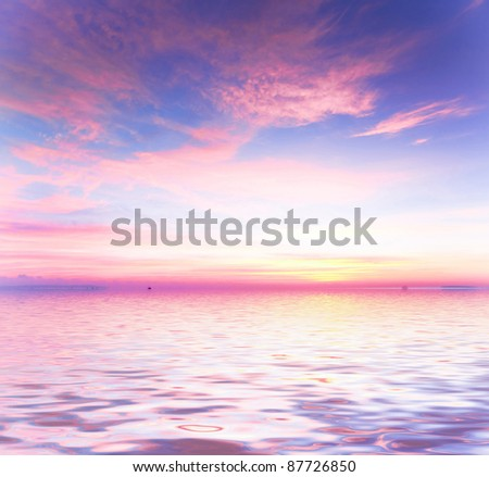 Over Water Before Dawn - stock photo