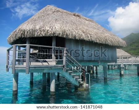 Over water bungalow Bora Bora - stock photo