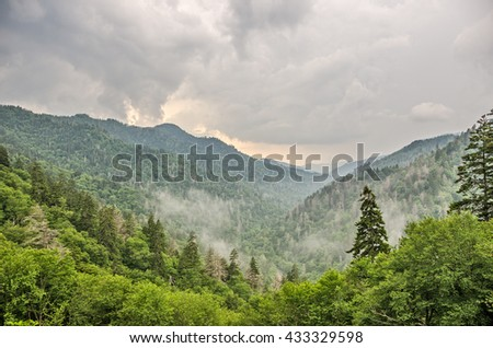Overcast, cloudy, and foggy day at Newfound Gap n the Great Smoky Mountains National Park on the border of Tennessee and North Carolina - stock photo
