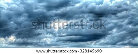 overcast grey sky on a winter day - stock photo