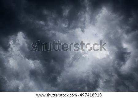 Overcast sky, dark storm clouds