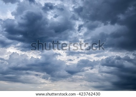 Overcast sky with dark clouds, The gray cloud ,Before rain - stock photo