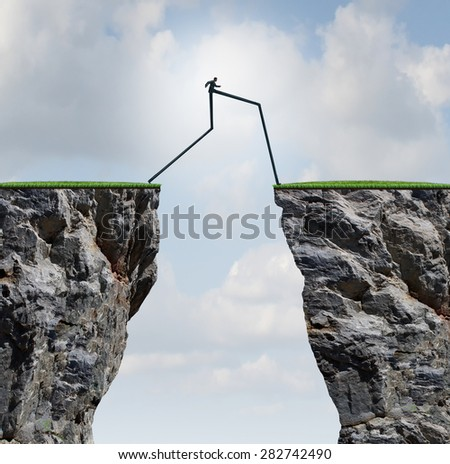 Overcoming an obstacle concept as a businessman with very long legs walking past through two high cliffs as a success bridge metaphor to surmount an obstruction and solve a problem. - stock photo