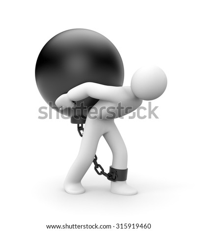 Overcoming difficulties. Man trapped with metal ball - stock photo