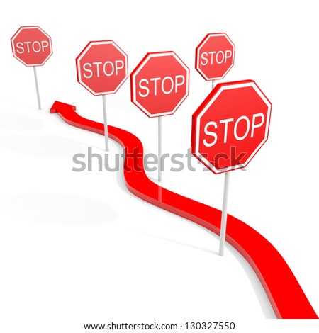 Overcoming obstacles. Arrow goes through the signs. 3D illustration. - stock photo