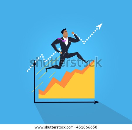 Overcoming obstacles banner design flat concept. Successful young businessman climbing up the schedule chart overcoming obstacles. Conceptual poster business development.  illustration