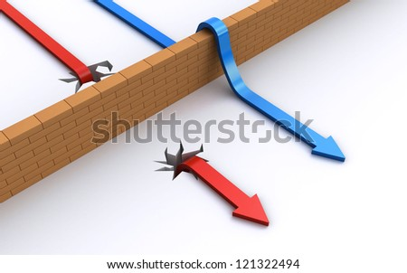 overcoming the obstacles - stock photo