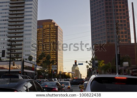 Overcrowded intersection during rush hour in Los Angeles - stock photo