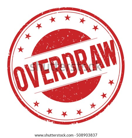 OVERDRAW stamp sign text word logo red.