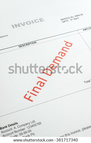 Overdue Invoice with final demand notification in red  NOTE: Account number and codes are imaginary - stock photo