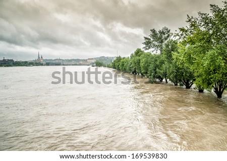 Overflow of the Danube River in Linz, Austria - stock photo
