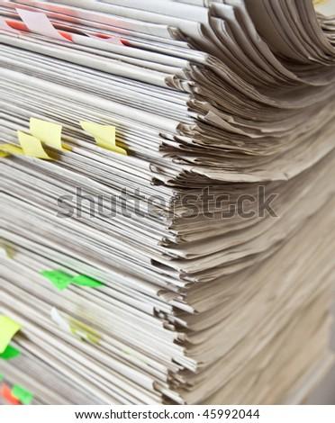 Overflowing Paperwork Inbox - stock photo