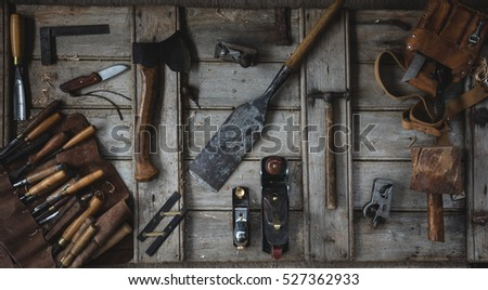 Overhead flat lay image of woodworking tools