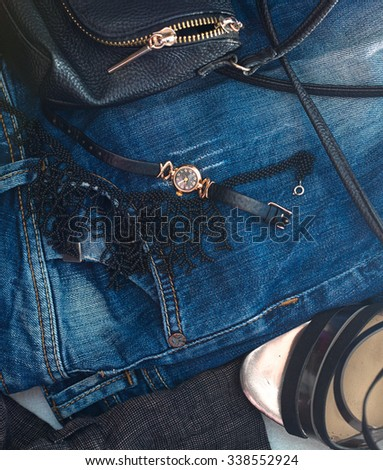Overhead of  fashion woman objects - stock photo