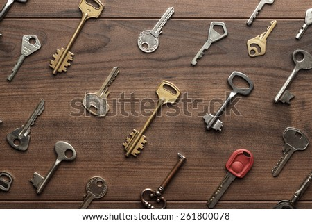 overhead of many different keys in oder on wooden background concept - stock photo