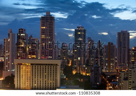 Overhead of Panama city at dusk,Panama, Central America - stock photo