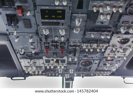 Overhead panel of an aircraft (jet)