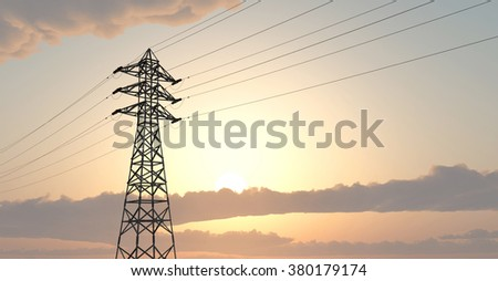 Overhead power line Computer generated 3D illustration