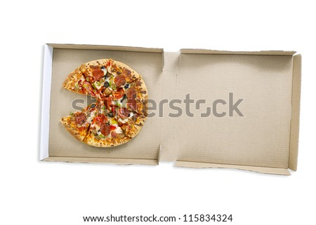 Overhead shot of a delicious pizza in pizza box over white surface. - stock photo