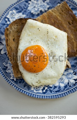 Overhead shot of a fried egg on wholemeal toast