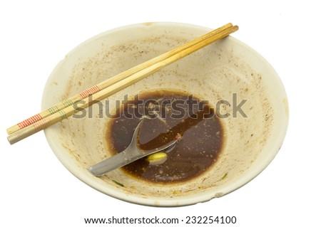 overhead shot of an empty dish  (isolated) - stock photo