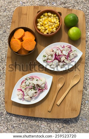 Overhead shot of Peruvian ceviche (raw fish and red onion marinated in lime juice with garlic, salt and coriander) served with sweet potato slices and cob kernels, photographed with natural light - stock photo