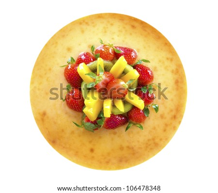 Overhead view full length passion fruit cheese cake isolated on white background - stock photo