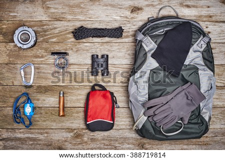 overhead view of a grouping of camping gear - stock photo