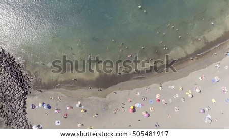 Overhead view of beautiful beach in summer.