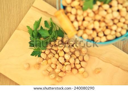 Overhead view of chick peas, Hummus - stock photo