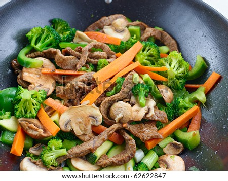 overhead view of colorful stir fry - stock photo