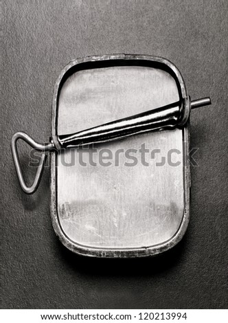 overhead view of empty sardine can - stock photo