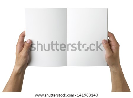 overhead view of hands holding a blank book ready with copy space ready for text, isolated on white, with clipping path - stock photo