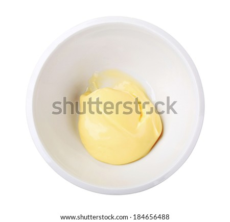 Overhead view of homemade mayonnaise in a bowl - stock photo
