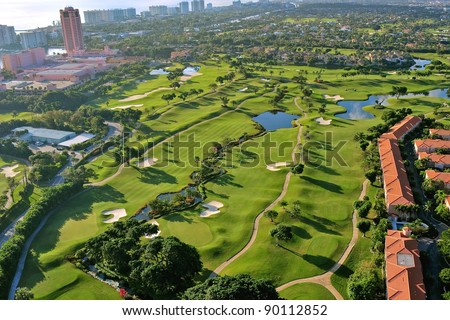overhead view of luxury florida municipal golf course - stock photo