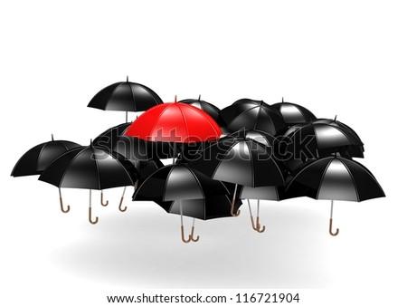 Overhead View of Many Umbrellas - stock photo